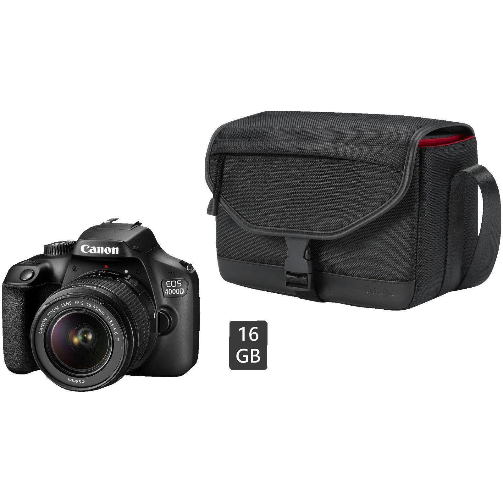 CANON EOS 4000D Kit Spiegelreflexkamera Objektiv 18-55 mm f/5.6 Zubehörpaket NEU