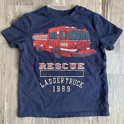 Toddler Boys Baby Gap 2T Top Navy Blue Fire Truck T-shirt Stay Back 200 Feet