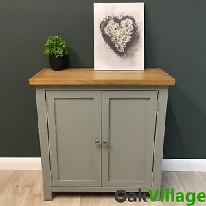 Great Greymore Painted Small Cupboard Oak / Grey Storage Cabinet / Solid Wood /  Hall