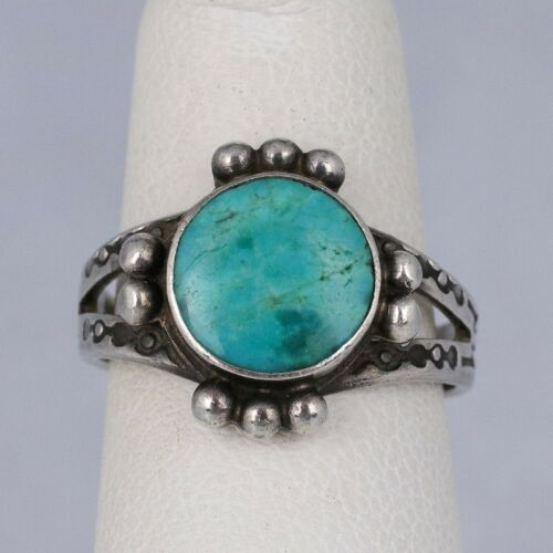 Vintage Native America Sterling Silver Round Turquoise Picto Designs Ring Size 4