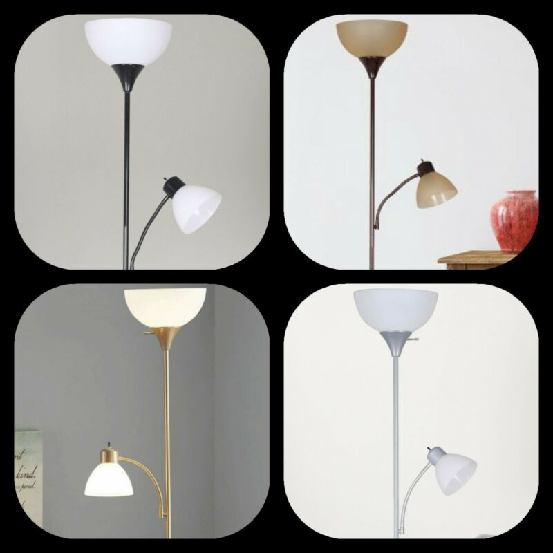 72 Tall White Shades Floor Lamp With Additional Adjustable R