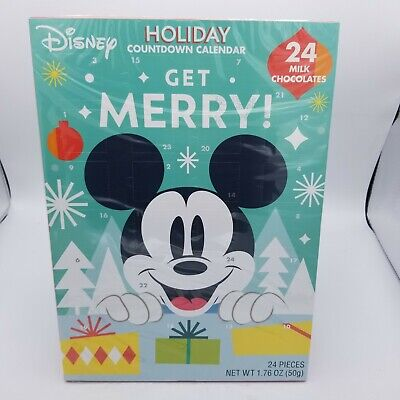 DISNEY Mickey Mouse Advent Holiday Countdown Calendar With 24 Milk Chocolates