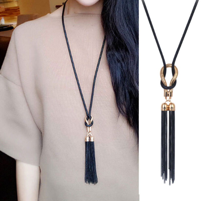 Jewellery - New Women Exquisite Jewelry Black Chain Tassel Long Chain Necklace