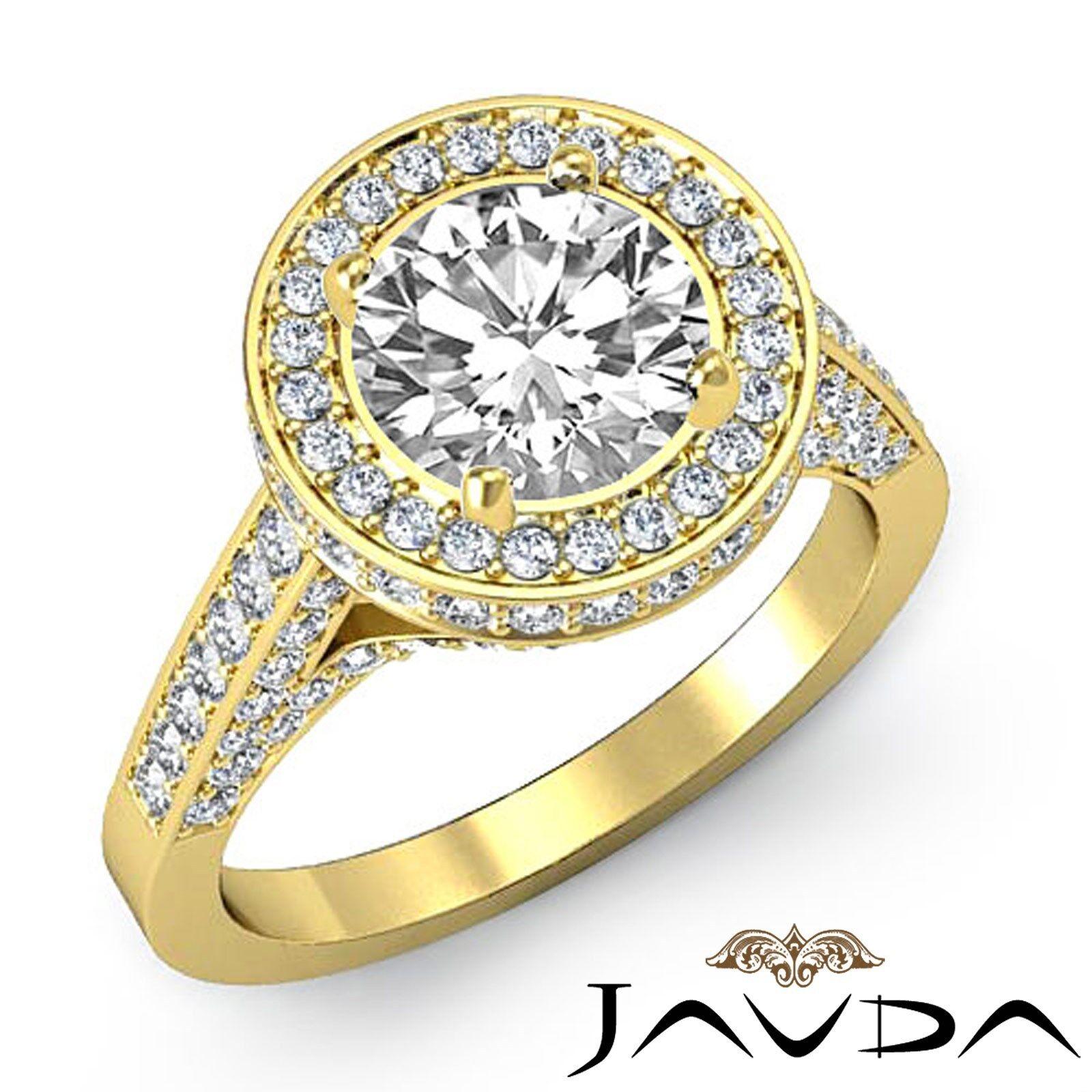 Brilliant Cut Round Diamond Engagement Halo Ring GIA H VS1 18k Yellow Gold 2.8ct