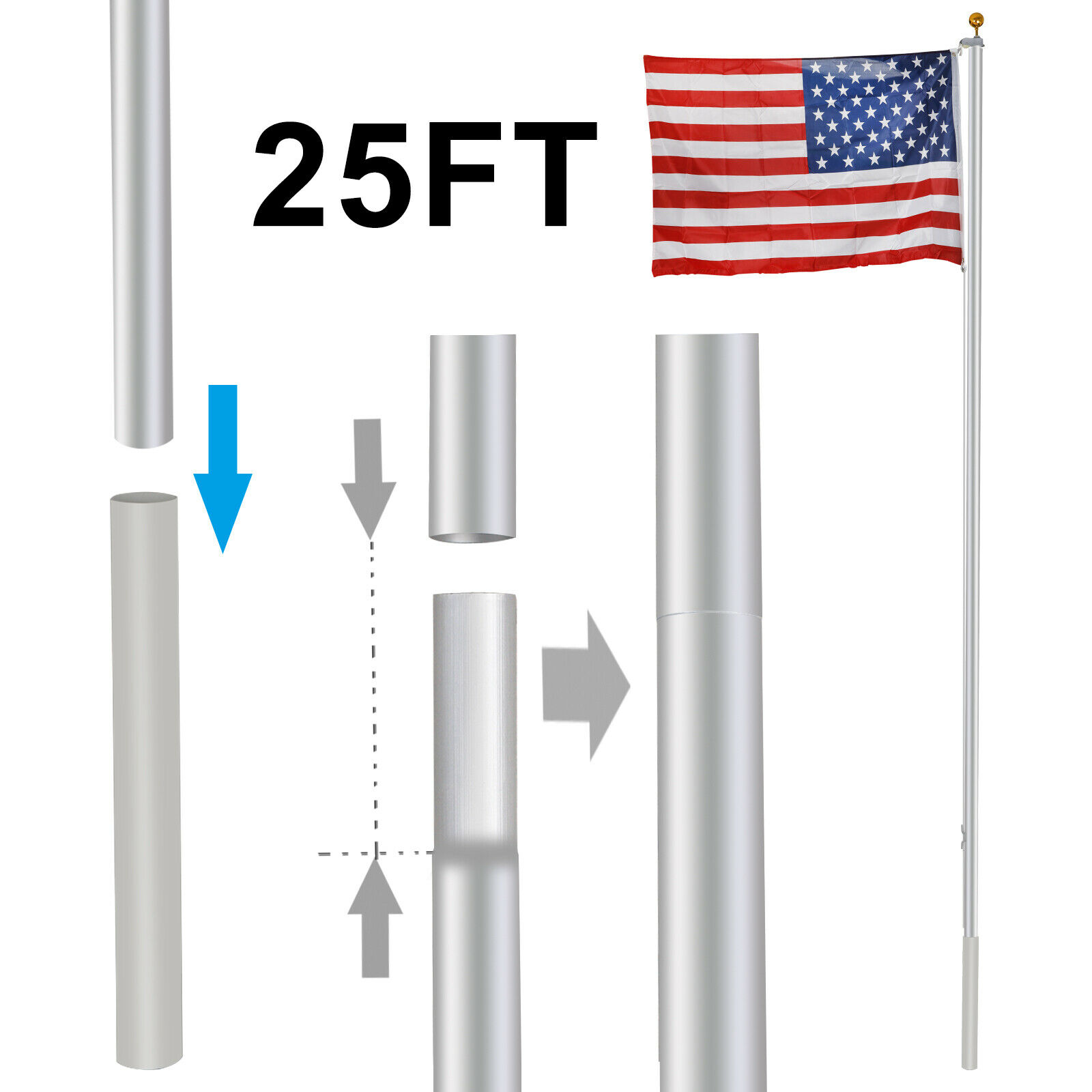 25FT Flag Pole Heavy Duty Sectional Kit Outdoor Halyard Pole