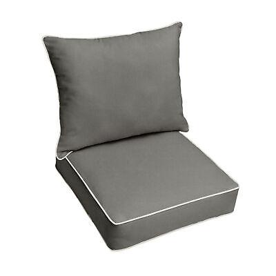 sunbrella canvas charcoal grey outdoor deep seat