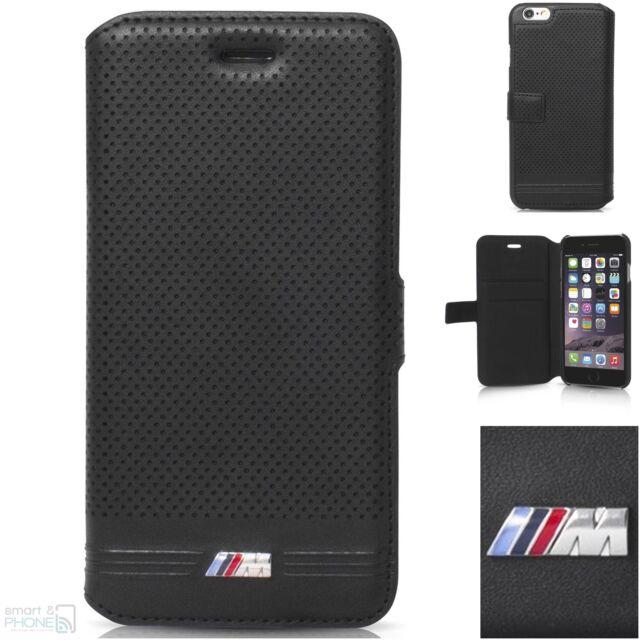 """BMW M perforiert iPhone 6,6s 4,7"""" Book Case Cover Handytasche Schutzhülle black"""