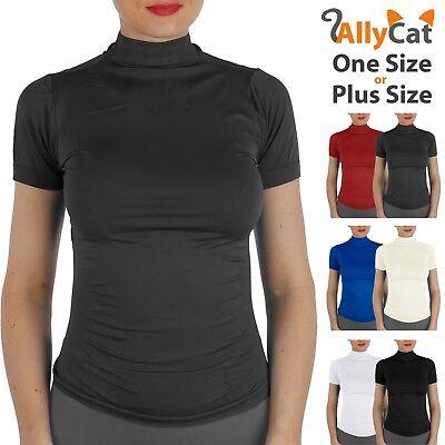 Women Short Sleeves Mock Neck Turtleneck Stretchy Side Ribbed Slim Fit Shirts ()