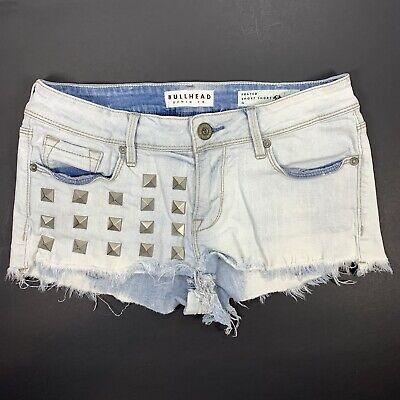 Bullhead Jean Shorts Blue Cut Off Frayed Spikes Short Size 5 Juniors Womens Blue Cut Off Short