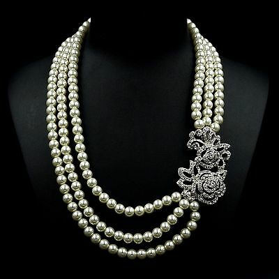 White Glass Pearl Multi Layered Strand Bead Chunky