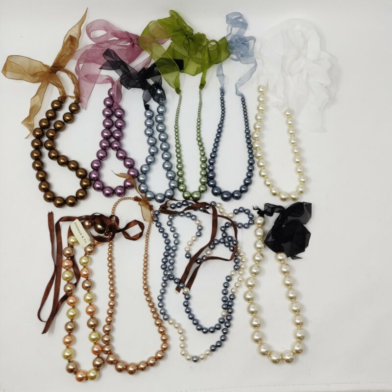 Faux pearl beads necklaces ribbon beaded wholesale lot of 10 Stephan & Co.