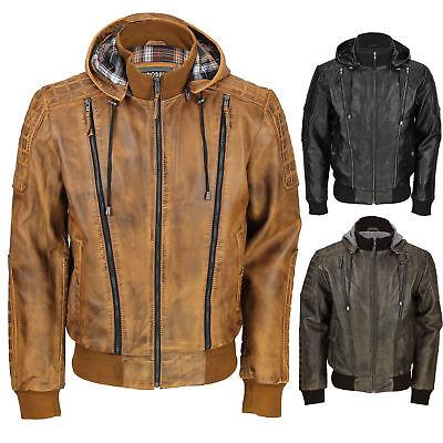 Mens Vintage Real Leather Bomber Jacket Detachable Hood Biker Washed Brown Black