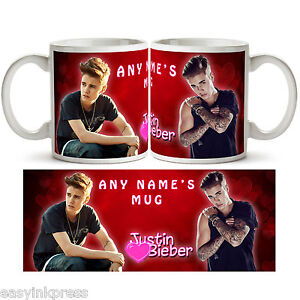 JUSTIN BIEBER PERSONALISED MUG Cup Tea Coffee Name Music Present Gift Love New