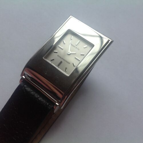 Tiffany & Co Schlumberger 18k White Gold Wrist Watch & Original Band