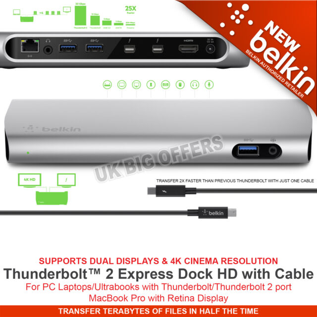 Belkin THUNDERBOLT 2 EXPRESS DOCK HD With 1M Thunderbolt Cable F4U085vf 8 Ports