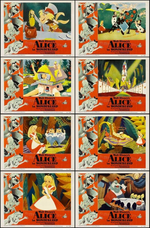 ALICE IN WONDERLAND WALT DISNEY Full Set of 8 Individual 11x14 LC Prints 1951