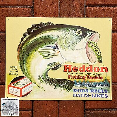 HEDDON FISHING TACKLE Frogs Tin Sign Rod Hunting Garage Man Cave Wildlife (Frogs Tin Sign)