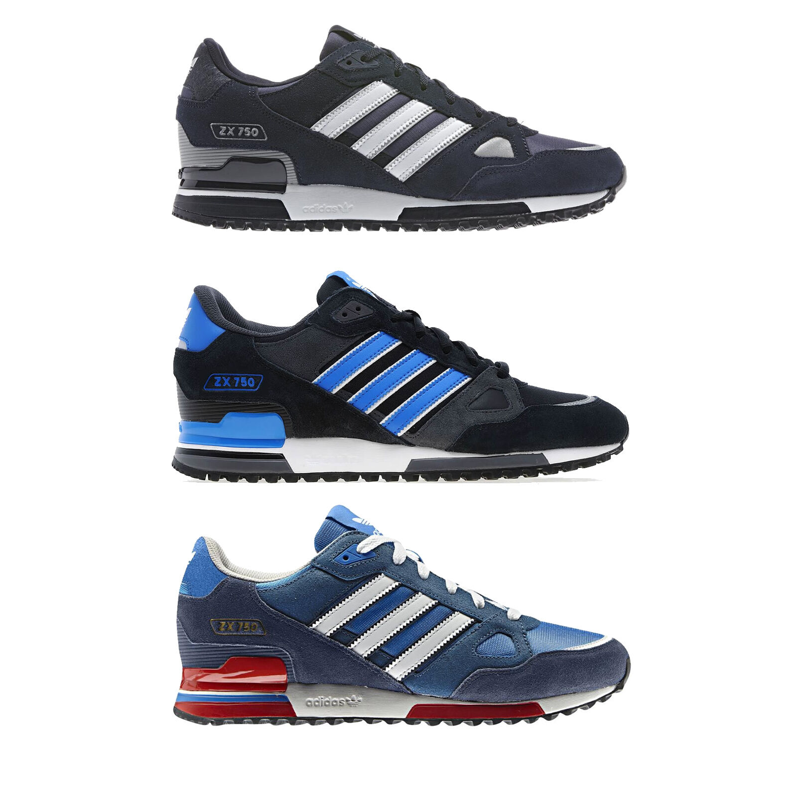 ADIDAS ORIGINALS ZX 750 SIZE 7-12 BLACK BLUE MENS TRAINERS SHOES RUNNING  SPORT cce95fc8f