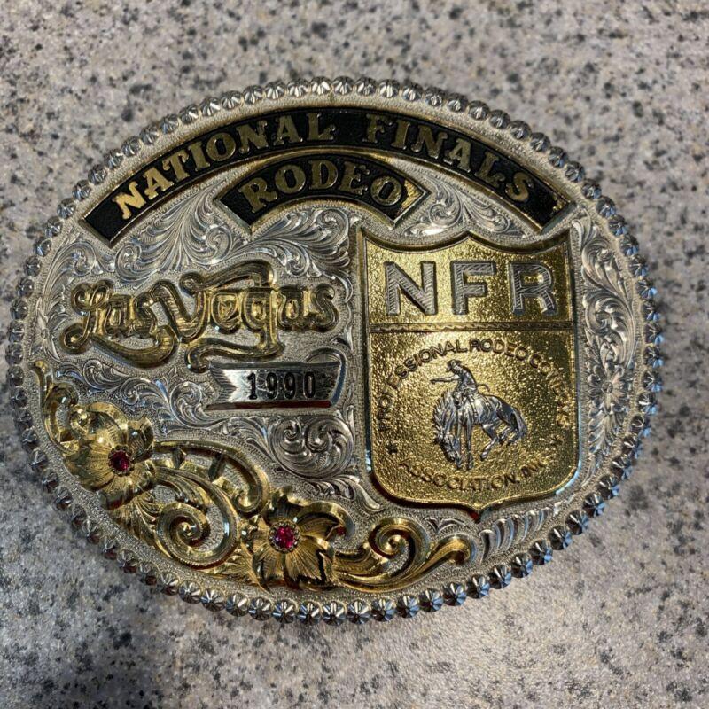 Vintage 1990 National Finals Rodeo NFR Las Vegas Gist Trophy Buckle Numbered