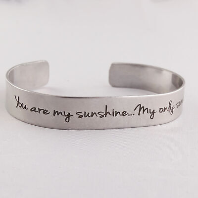 You Are My Sunshine Engraved Cuff Bracelet - Stainless Steel - Double-sided Song](You Are Sunshine)