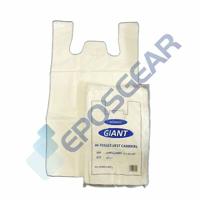 50 Super Jumbo Plain White Vest Style Shopping Plastic Carrier Bags 16x25x29