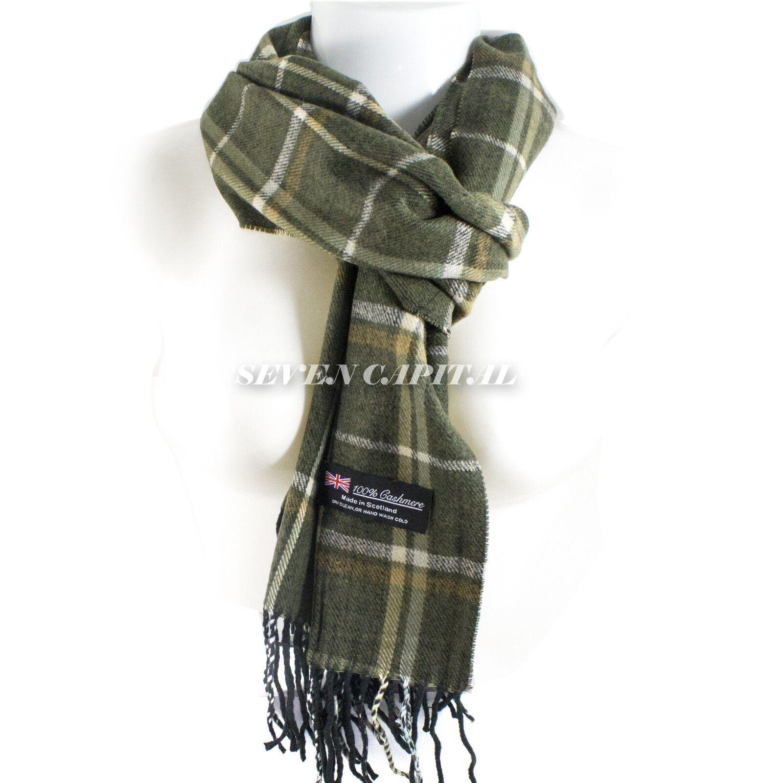 Mens Womens Winter Warm SCOTLAND Made 100% CASHMERE Scarf Scarves Plaid Wool 13. Plaid: Dark Green/White/ Black