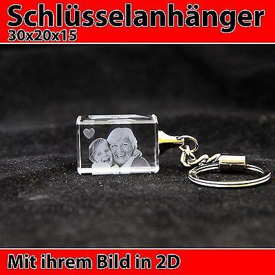Schlüsselanhänger 2D Foto Würfel Glas Personalisierte Geschenkidee Geburtstag