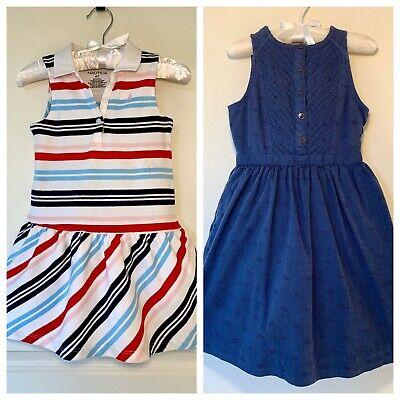 Lot Of 2 NAUTICA TOMMY HILFIGER Toddler Girls Dresses Sz 4 4T Spring Summer VGUC