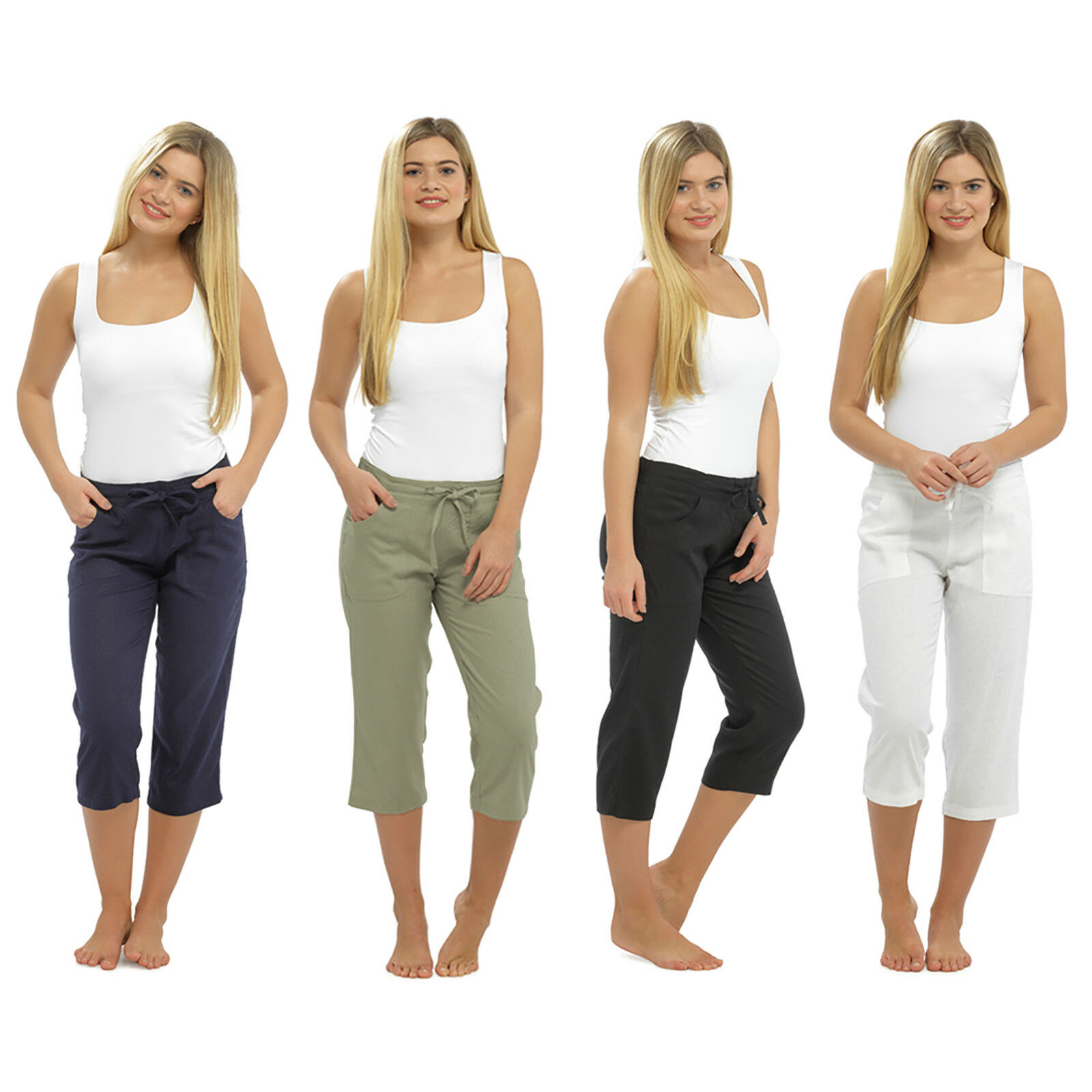 reasonable price many styles 100% high quality LADIES WOMEN LINEN 3 QUARTER PANTS CROPPED TROUSER 3/4 RELAXED FIT ...