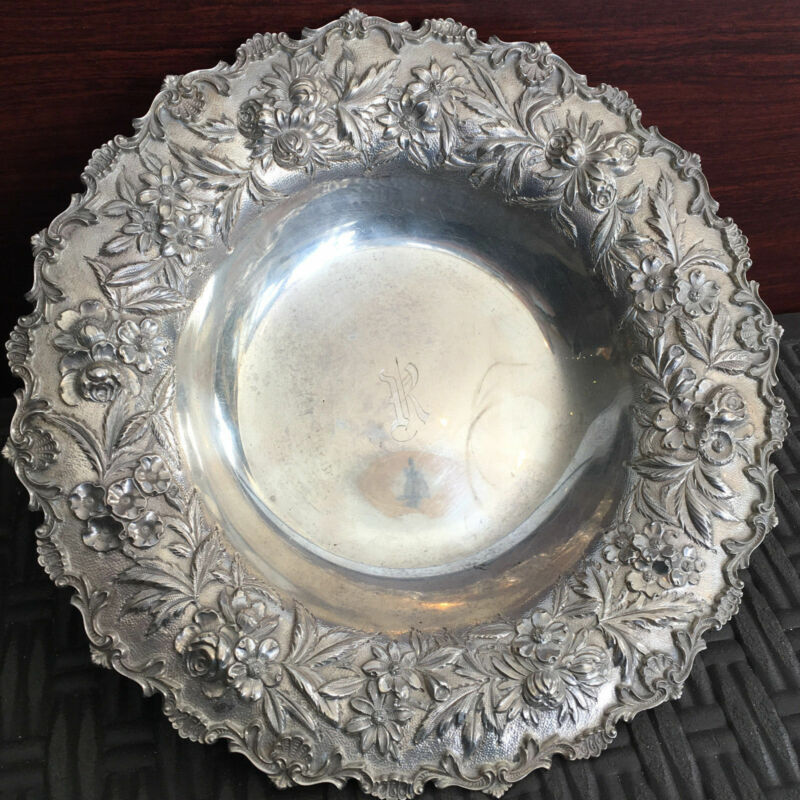 Antique Sterling Silver Bowl S. Kirk & Son Inc. Hand Decorated Flower Pattern...