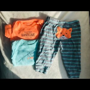Carters 2 onesies and 1 pants 6 months