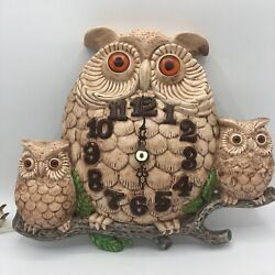 Vintage Ceramic 3 Owls Family Perched Tree Branch Wall Clock Unique ARNEL'S 1974