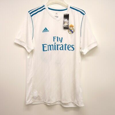 b11e6ff52d6 Adidas Size Large Mens Real Madrid Soccer Fly Emirates White Jersey Shirt  New