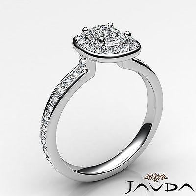 Cushion Cut Halo Pre-Set Diamond Engagement Ring GIA G Color VS2 Platinum 0.87Ct 1