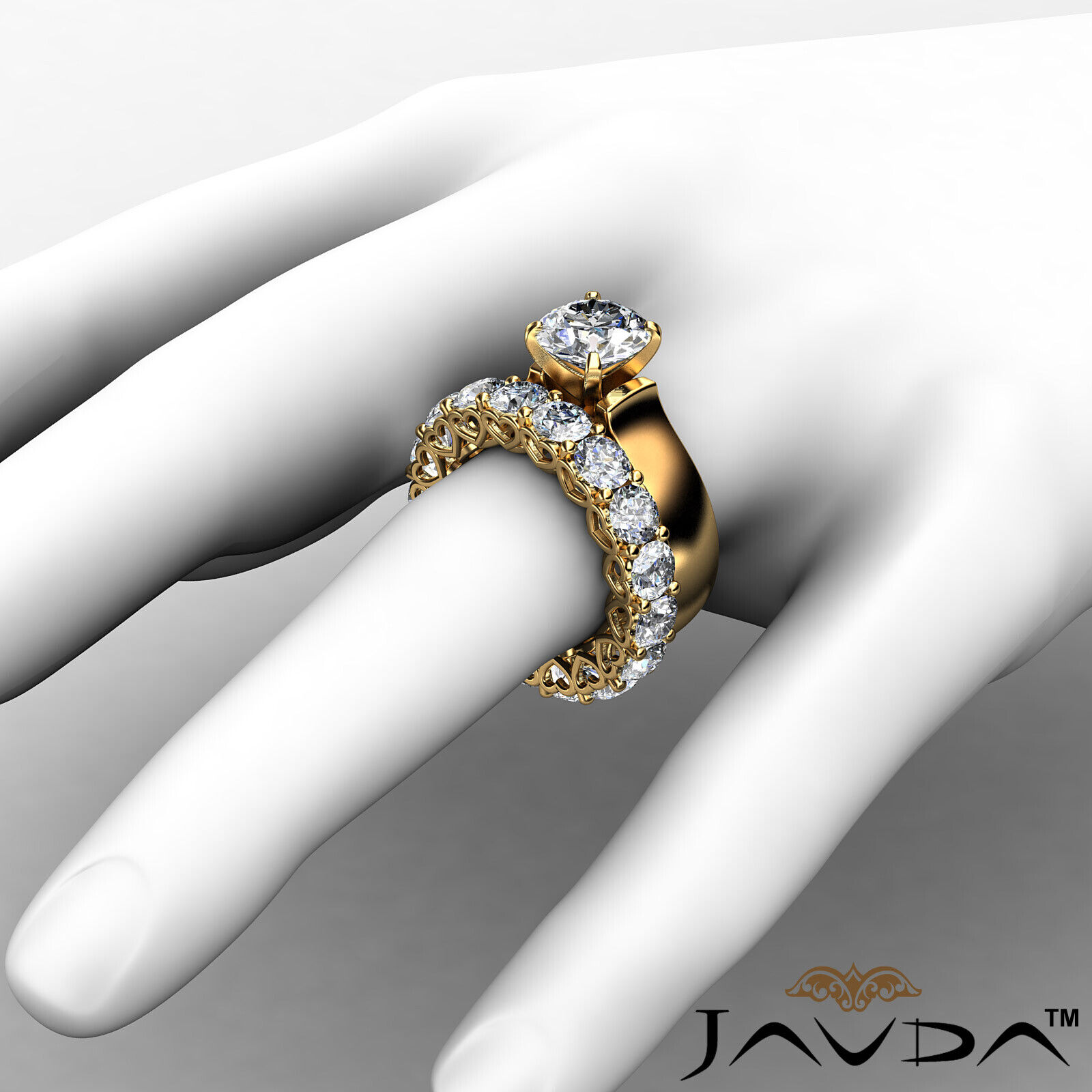 7.05Ct. Diamond Engagement Wedding Bridal Set Ring 14k Yellow Gold GIA Certified 3