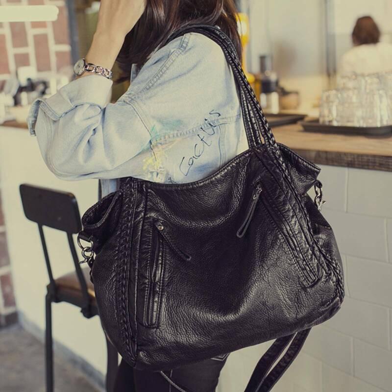 Damenhandtasche Mittelgroß Schultertasche Tasche Umhängetasche Leder Shopper Bag