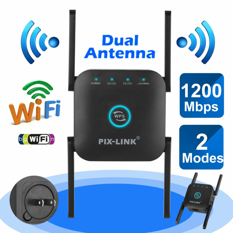 1200Mbps Wireless WiFi Range Extender Repeater Signal Booster Network Router