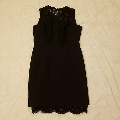 H&M Womens Dress SZ 12 Black Lace A Line Cocktail Party Pleated