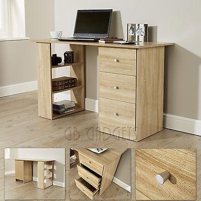 Oak 3 Drawer 3 Shelves Computer Desk Table Study Desk For Home Office Furniture