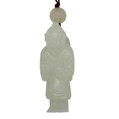 Hand Carved Chinese White Jade Jadeite Scholar Figure Ornament k132N