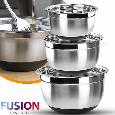 Stainless Steel Mixing Bowl 3pc Set Kitchen Serving Bowls Food Salad Non Slip