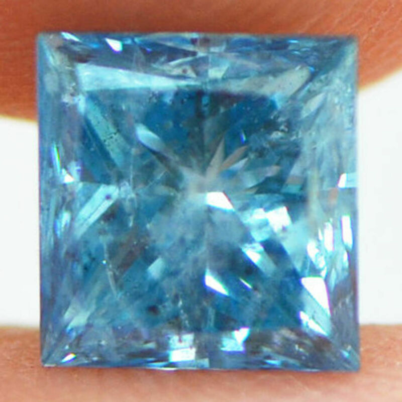 Loose Blue Diamond Fancy Color Princess 1.82 Ct Si3 Enhanced Natural 6.60x6.28mm