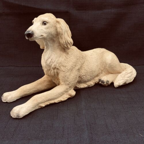"Saluki Dog Figurine. Blond Realistic Resin  Eyes really Lifelike 10.5"" x 5"" tall"