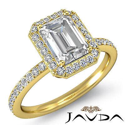Halo Emerald Diamond Vinatge Engagement Ring GIA Certified H SI1 Platinum 2 ct 6