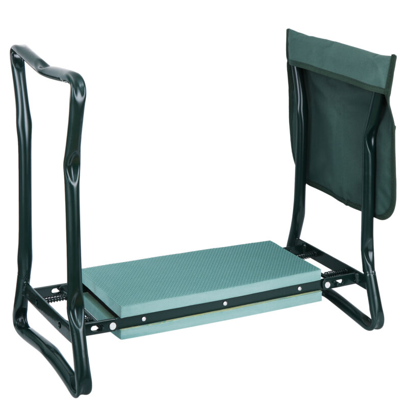 Folding Kneeler Garden Kneeling Bench Soft Eva Pad Seat With Stool Pouch Outdoor