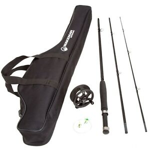 Wakeman 3 Piece 8 Feet Long Fly Rod and Reel with Carrying Case Fishing