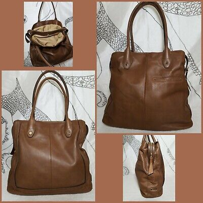 B.Makowsky womens genuine peebles leather shoulder bag tote satchel Camel Brown