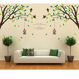Tree bird removable room vinyl decal art wall home decor for Diy tree wall mural