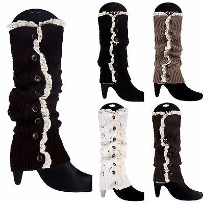 Lace Button Down Leg Warmers Crochet Knit Long Boot Socks Cuffs Toppers Slouch Lace Boot Topper