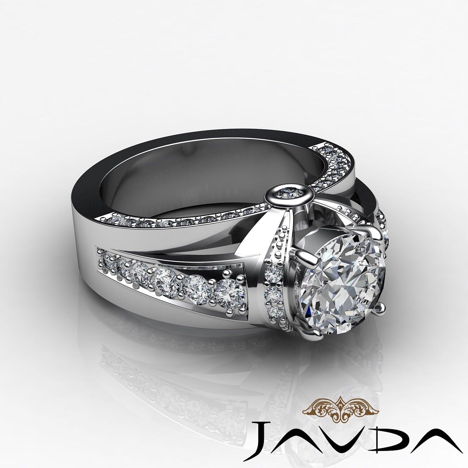 1.7ct Knot Classic Sidestone Round Diamond Engagement Ring GIA H-VVS2 White Gold 2
